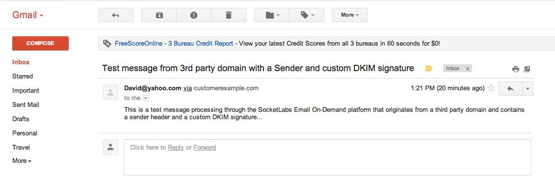 Test email message using a third party domain based from address with a sender header specified and a custom DKIM signature