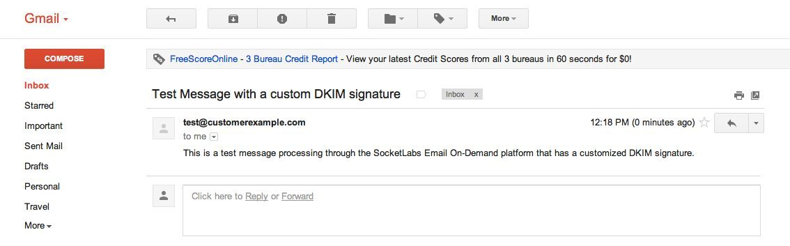 Test Message as seen in Gmail with a custom DKIM signature