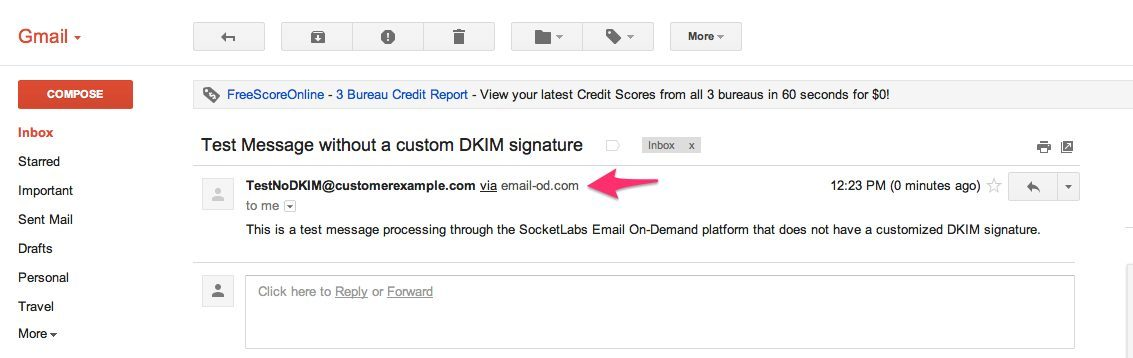 Message as seen in Gmail without a custom DKIM signature
