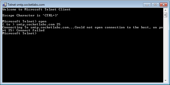 Telnet Connection Failure