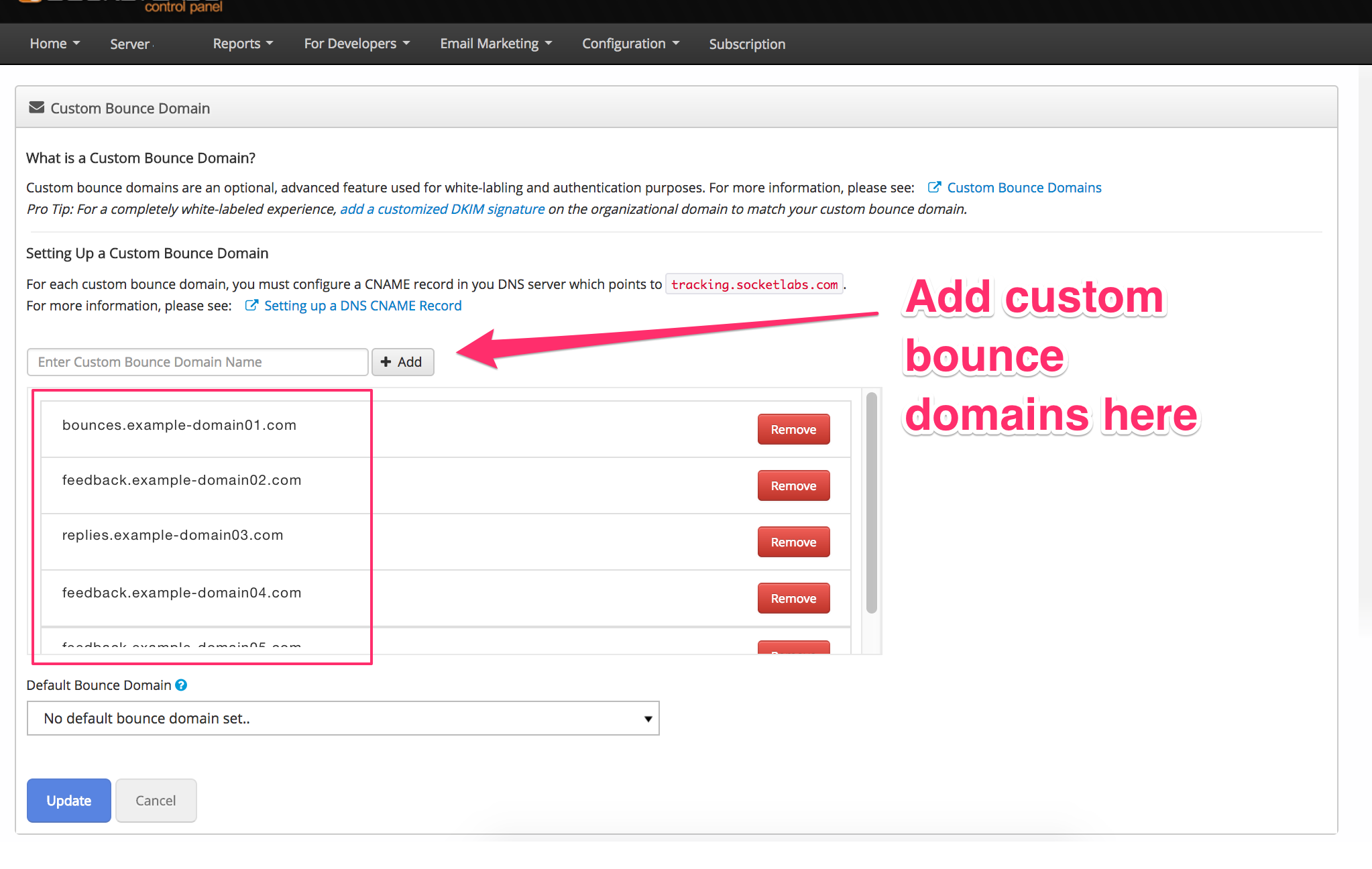 Custom Bounce Domains Feature Updated