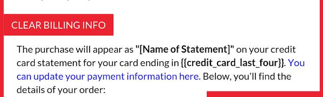 clear billing info