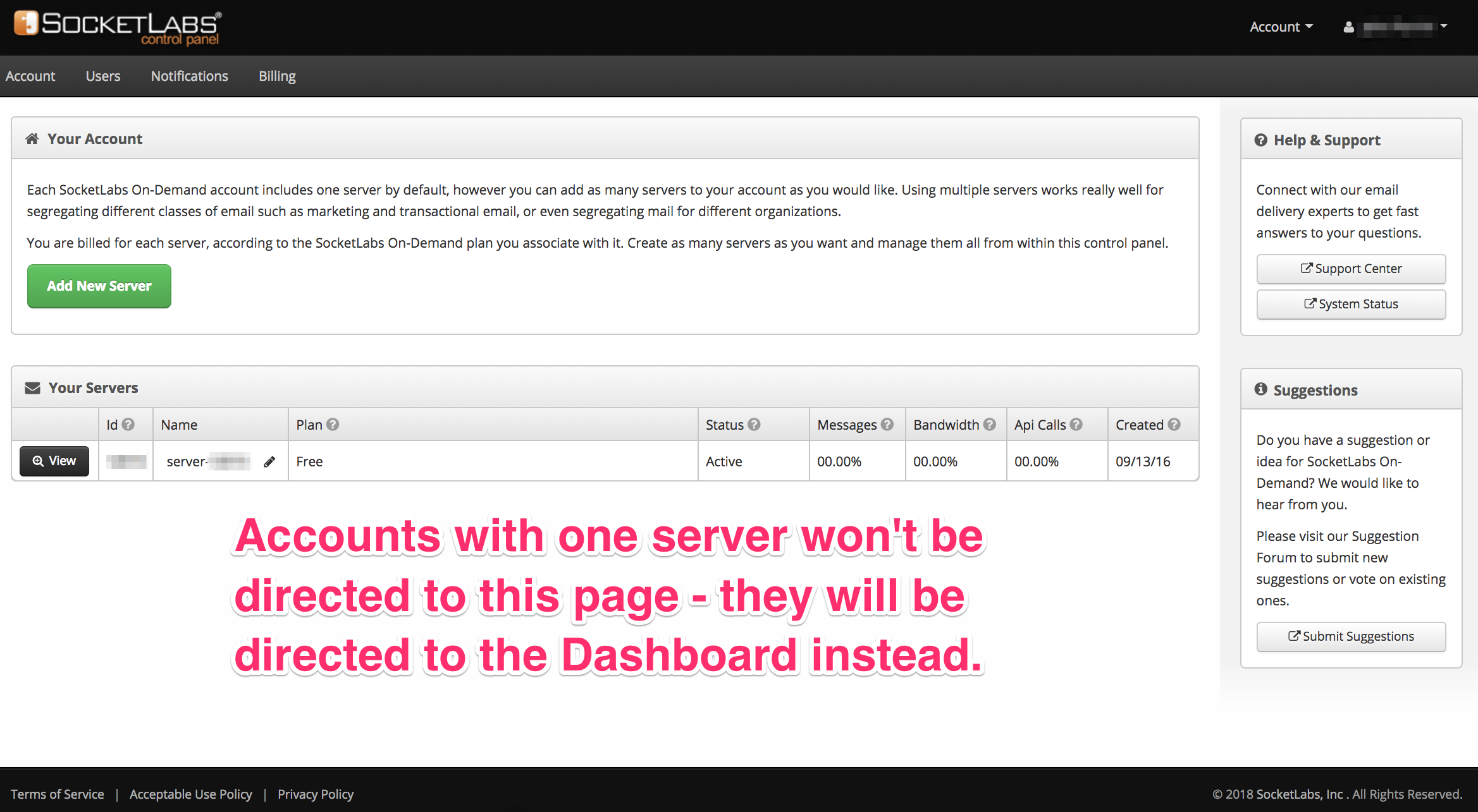 server dashboard