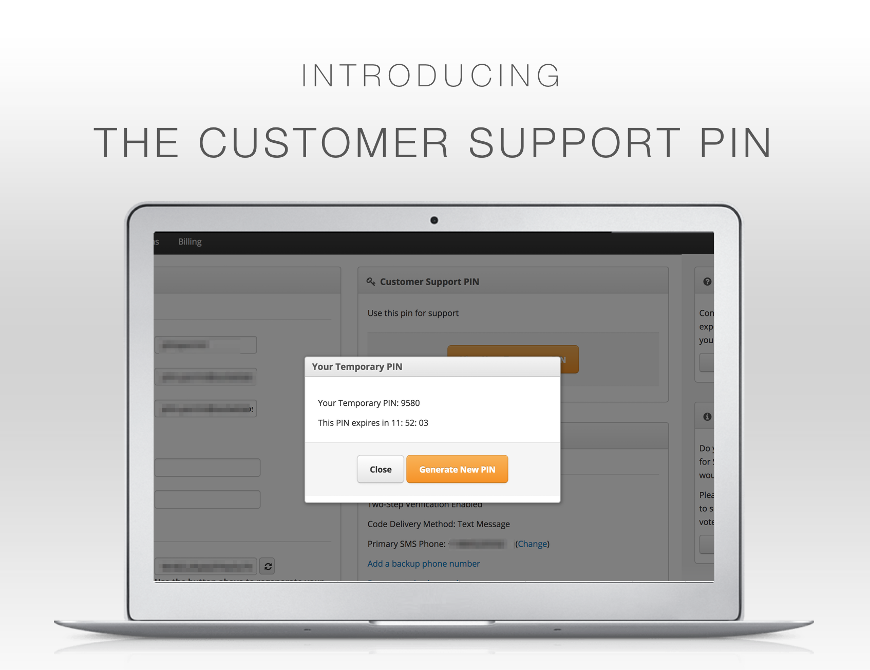 Customer Support PIN