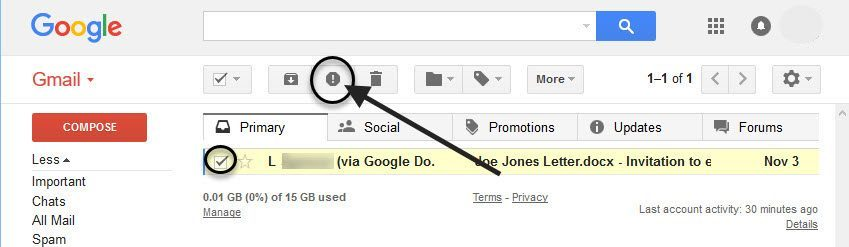 Junk Button in Gmail
