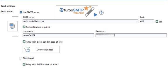 SMTP server, username, password and port